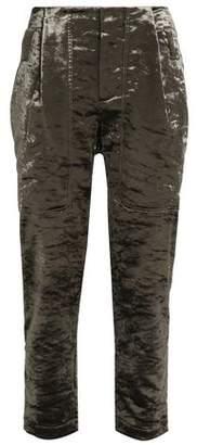 Brunello Cucinelli Cropped Cotton-Blend Crushed-Velvet Straight-Leg Pants