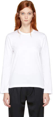 Comme des Garcons White Long Sleeve Cotton T-Shirt