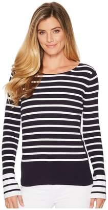 Elliott Lauren Rib Stripe Sweater with Bell Sleeve and Slit Detail Women's Sweater