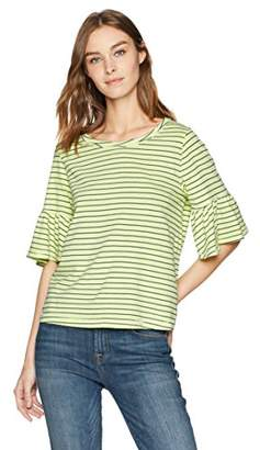 Splendid Women's Bright Stripe Ruffle Tee