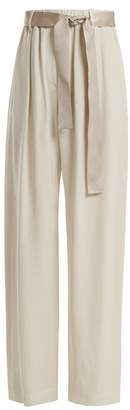 Brunello Cucinelli Bead Embellished Wide Leg Trousers - Womens - Ivory