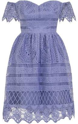 Dorothy Perkins Womens *Chi Chi London Blue Crochet Midi Skater Dress
