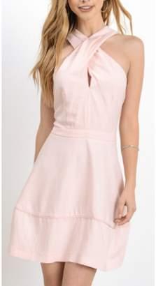 Hommage Tulip Pink Criss Cross Mini Dress