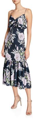 Jill Stuart Floral-Print Sleeveless Midi Dress with Ruffle Trim