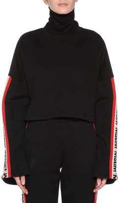 MSGM Bell-Sleeve Cropped Logo Turtleneck Sweatshirt