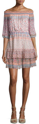 Shoshanna 3/4-Sleeve Off-the-Shoulder Printed Silk Dress, Apricot/Multi $256 thestylecure.com