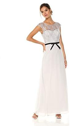 Cambridge Silversmiths The Collection Women's Lace Bodice with Cap Sleeves and Satin Belt Chiffon Dress