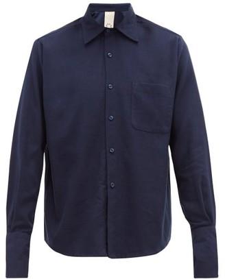 Marrakshi Life - Cotton Blend Flannel Shirt - Mens - Navy