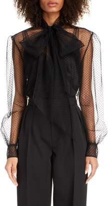 Marc Jacobs Polka Dot Tie Neck Sheer Tulle Blouse