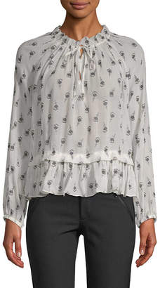 Rebecca Taylor Long Sleeve Tulip Clip Top