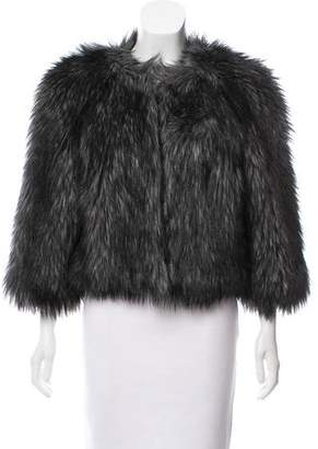 Michael Kors Collarless Faux Fur Jacket