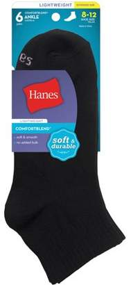 Hanes Women's ComfortBlend Lightweight Ankle Socks - Extended Sizes - 6 Pair