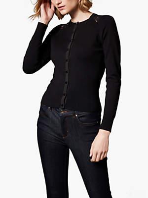 Lace Panel Cardigan, Black