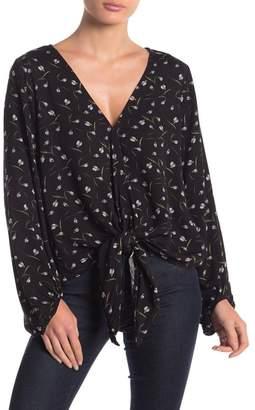 Love Stitch Floral Tie Front Blouse