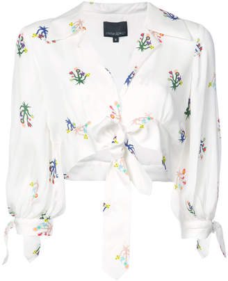 Cynthia Rowley tied up cropped blouse