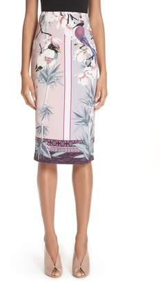 Versace Bird Print Pencil Skirt