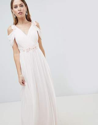 Lipsy Cold Shoulder Chiffon Maxi Dress with 3D Floral Trim