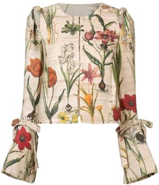 Oscar de la Renta cropped flower jacket