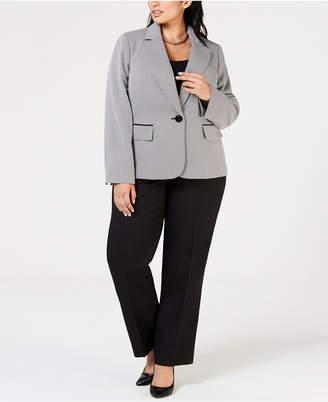 Le Suit Plus Size One-Button Textured Jacket Pantsuit