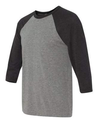 B.ella Unisex Three-Quarter Sleeve Baseball Raglan - Charcoal-Black/Grey
