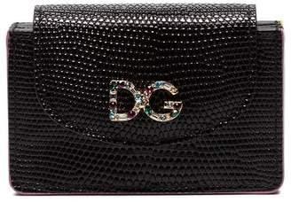 Dolce & Gabbana black crystal embellished embossed leather wallet