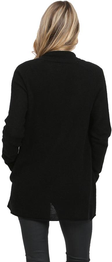 White + Warren Pocket Open Cardigan in Black