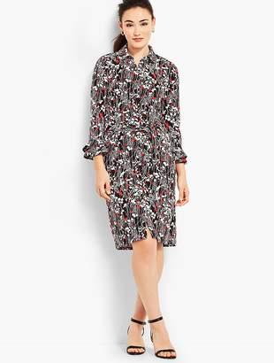 Talbots Ruffle-Sleeve Jersey Shirtdress - Vine-Print