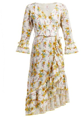Gül Hürgel Floral Print Linen Dress - Womens - White Print