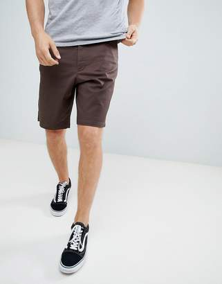 Asos Design DESIGN slim longer shorts in dark brown