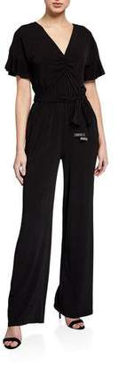 MICHAEL Michael Kors V-Neck Flutter-Sleeve Jumpsuit