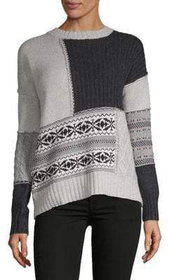 Autumn Cashmere Patchwork Fair Isle Cable-Knit Sweater