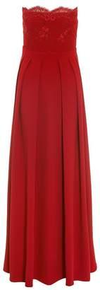 Quiz Red Crepe Embelished Bandeau Maxi Dress