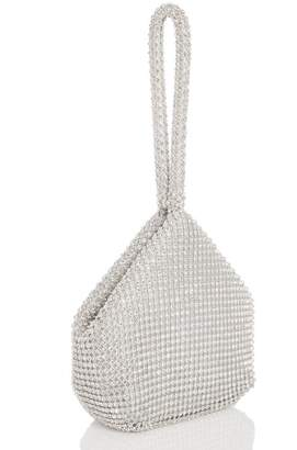 Quiz Silver Diamante Pouch Bag