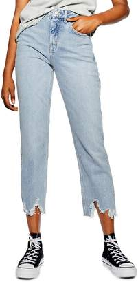 Topshop High Waist Jagged Hem Straight Leg Jeans