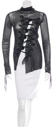 Jean Paul Gaultier Long Sleeve Mesh Top $165 thestylecure.com