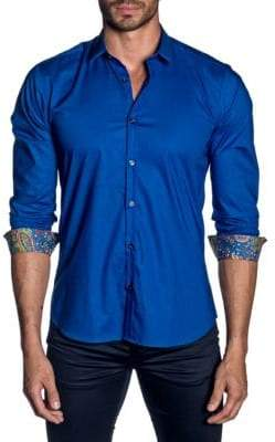 Jared Lang Paisley Cuff Button-Down Shirt