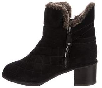 Chanel Shearling-Trimmed Quilted Booties