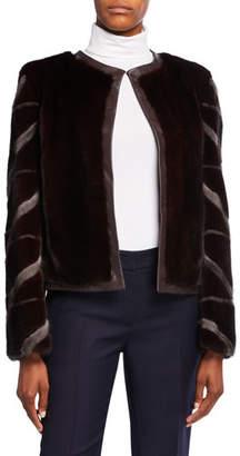Gorski Collarless Mink Fur Intarsia Jacket