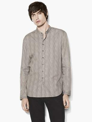 John Varvatos Band Collar Stitched Edge Shirt
