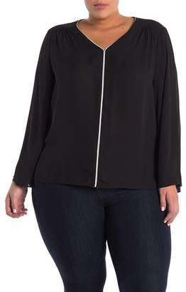 Philosophy Apparel Flared Sleeve Pipe Trim Blouse (Plus Size)