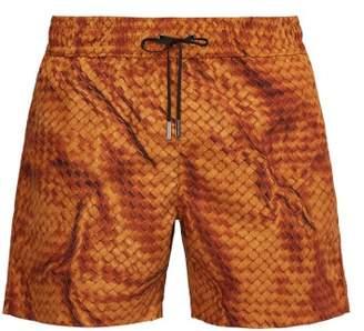 Bottega Veneta Intrecciato Print Swim Shorts - Mens - Yellow