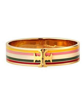 Tory Burch Printed Raised-Logo Hinge Bracelet