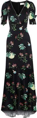 Peter Pilotto Ruffle-trimmed Floral-print Hammered-silk Maxi Dress