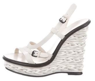 Bottega Veneta Platform Wedge Sandals Grey Platform Wedge Sandals