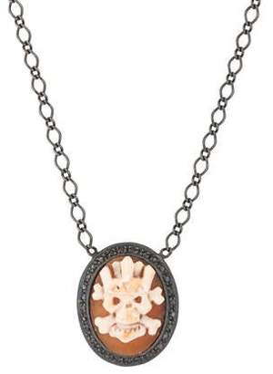 Amedeo Diamond Skull Cameo Pendant Necklace