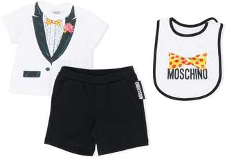 Moschino Kids tuxedo print T-shirt, shorts and bib gift set