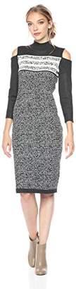 Gabby Skye Women's Turtle Neck Cold Shoulder Sweater Dress