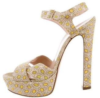 RED Valentino Floral Platform Sandals