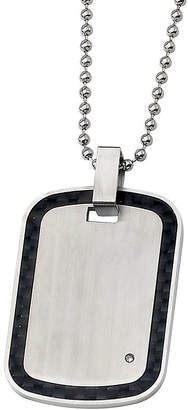 FINE JEWELRY Mens Diamond Accent Stainless Steel & Black Carbon Fiber Pendant