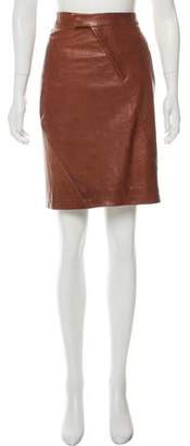 Zero Maria Cornejo Distressed Leather Skirt